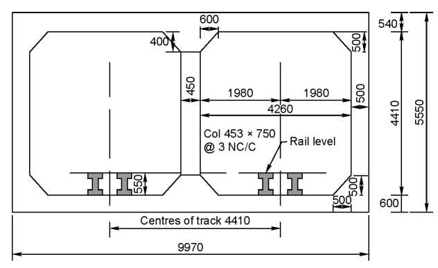 Typical cross section of an underground railway (cut and cover method); all dimensions in mm